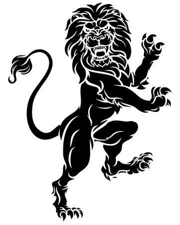 Heraldic Lion Standing Rampant Crest Coat of Arms
