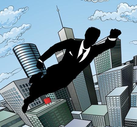 Flying Superhero Businessman  イラスト・ベクター素材