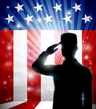 American Soldier Saluting Flag Patriotic Design