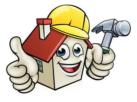 Personaje de dibujos animados de trabajador de construcción de casa Ilustración de vector