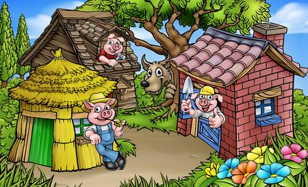 Een cartoonscène uit het sprookjesverhaal van de drie biggetjes voor kinderen. De 3 varkensfiguren met hun huisjes van stro, hout en baksteen en de grote boze wolf die vanachter een boom gluurt. Vector Illustratie