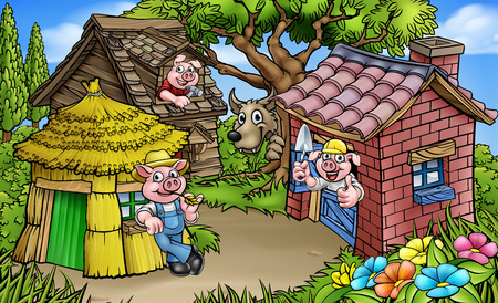 A cartoon scene from the three little pigs childrens fairytale story. The 3 pig characters with their straw, wood and brick houses and the big bad wolf peeking from behind a tree. Illustration
