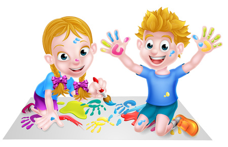 Cartoon Children Painting