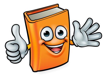 Une mascotte d'éducation de personnage de dessin animé de livre donnant un coup de pouce et agitant