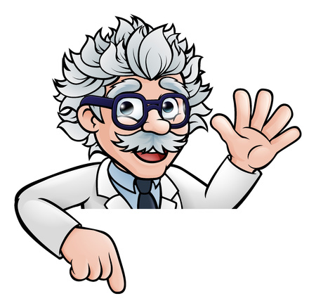 Cartoon scientist professor pointing at a sign