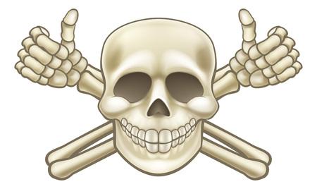 Dessin animé Halloween pirate crâne et os croisés squelette pouces vers le haut illustration Vecteurs