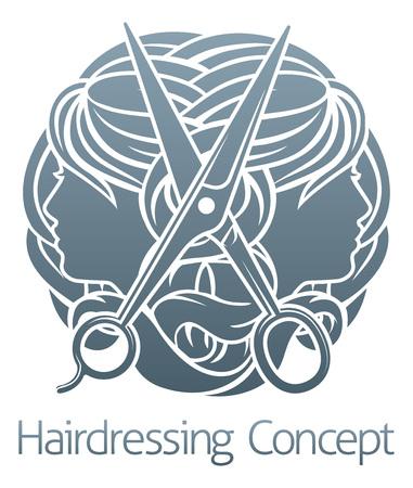 Hair Salon Stylist Hairdresser Faces Vetores