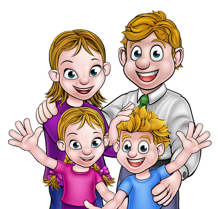 Cartoon kids with their parents family group Illustration