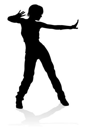 Silueta de bailarina de baile callejero Ilustración de vector