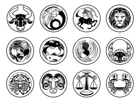 Zodiac astrology horoscope star signs symbols set