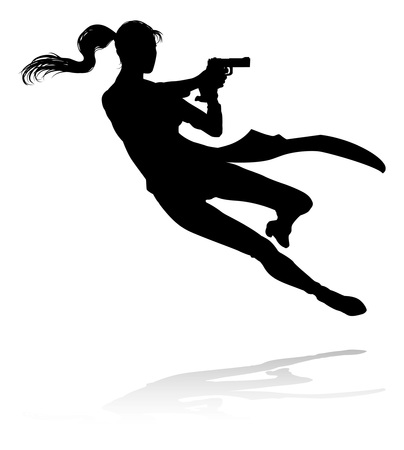 Action Movie Shoot Out Person Silhouette  イラスト・ベクター素材