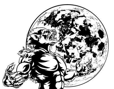 Full Moon Werewolf Scary Monster Ilustração