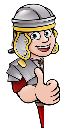 An ancient Roman soldier cartoon character peeking around a sign and giving a thumbs up Ilustrace