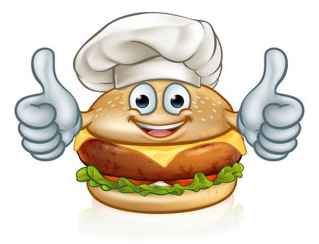 Mascota de personaje de dibujos animados de comida de hamburguesa de chef