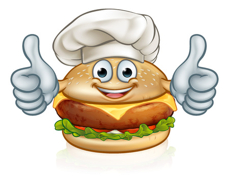 Chef Burger Food Cartoon Character Mascot
