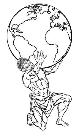 Ilustración de la mitología Atlas Ilustración de vector
