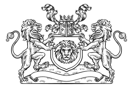 Shield Crest Lion Heraldic Coat of Arms Emblem