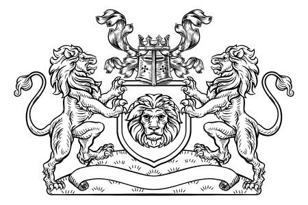 Shield Crest Lion heraldische wapen embleem Vector Illustratie