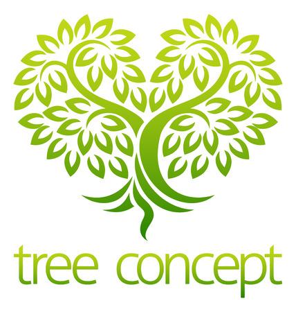 Tree Heart Icon Concept