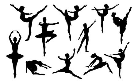 Ballet Dancing Silhouettes Set Foto de archivo - 105538242