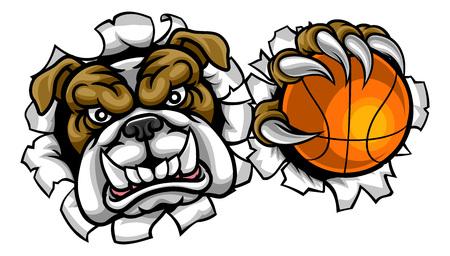 ブルドッグバスケットボールスポーツマスコット ベクターイラストレーション
