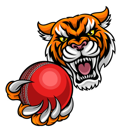 Tiger Holding Cricket Ball Mascot Stock Illustratie