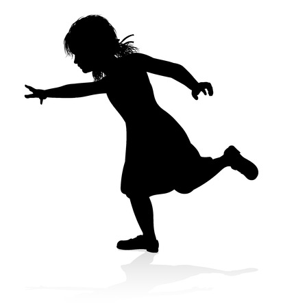 A kid or child in silhouette playing running jumping