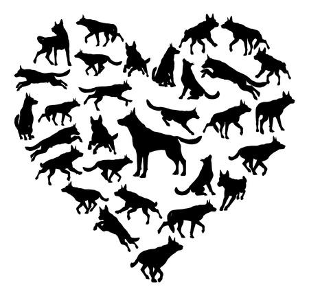 Concepto de corazón de perro alsaciano de pastor alemán Ilustración de vector