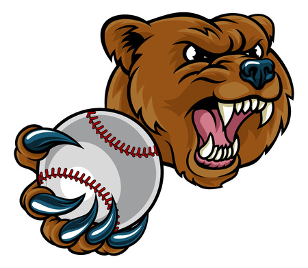 Bear Holding Baseball Ball Ilustrace