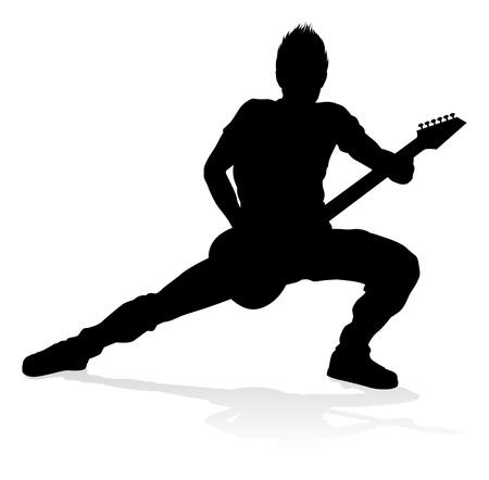 Silhouette de guitariste musicien Vecteurs
