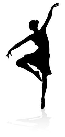 Dancing Ballet Dancer Silhouette Stock Illustratie