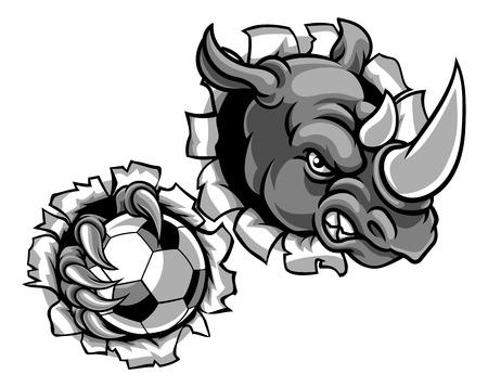 Rhino Holding Soccer Ball Breaking Background Standard-Bild - 105538324