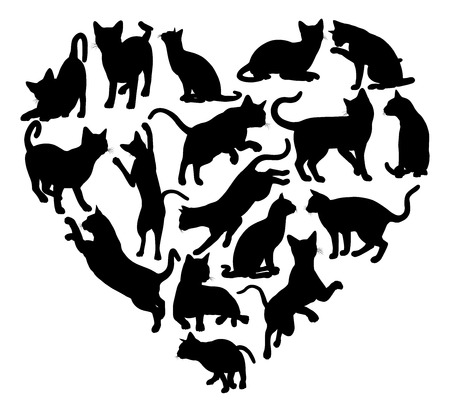 Cat Heart Silhouette Concept Illustration