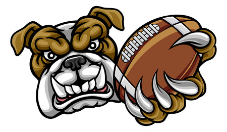 Bulldog American Football Mascot Иллюстрация