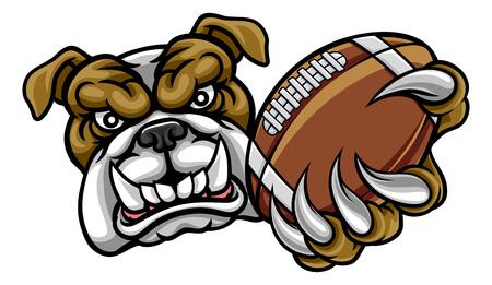 Mascota de fútbol americano Bulldog Ilustración de vector