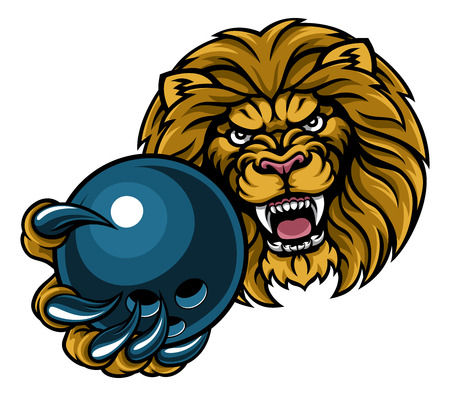 A lion angry animal sports mascot holding a ten pin bowling ball Illustration