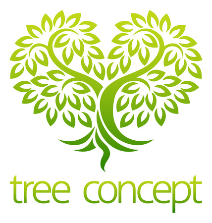 Tree icon concept of a stylised tree with leaves in a heart shape, lends itself to being used with text