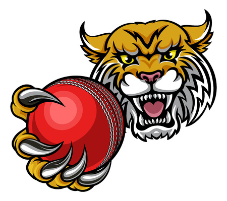 A wildcat angry animal sports mascot holding a cricket ball