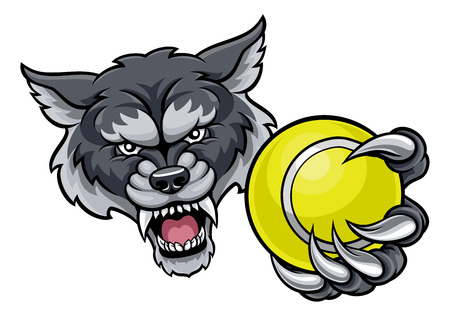 A wolf angry animal sports mascot holding a tennis ball Illustration