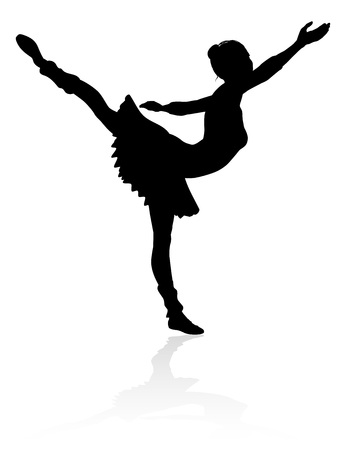 A high quality detailed silhouette of a ballet dancer dancing in a pose or position Foto de archivo - 105538423
