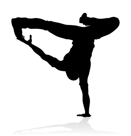 Un ballerino hip-hop di ballo di strada maschile in silhouette Vettoriali