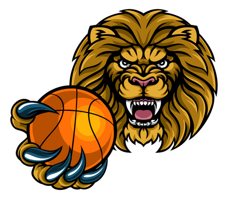 A lion angry animal sports mascot holding a basketball ball