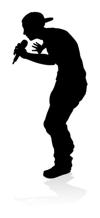 A singer pop, country music, rock star or hiphop rapper artist vocalist singing in silhouette Stock Illustratie