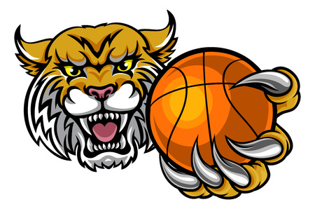 A wildcat angry animal sports mascot holding a basketball ball