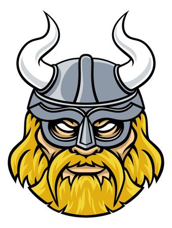 An illustration of a Viking warrior or gladiator wearing a horned helmet Illustration