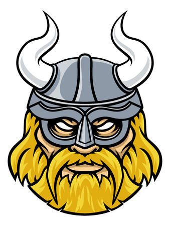 An illustration of a Viking warrior or gladiator wearing a horned helmet Illustration