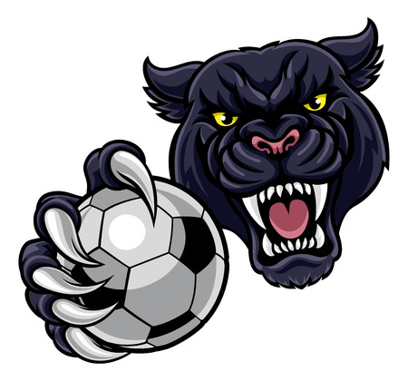 A black panther angry animal sports mascot holding a soccer football ball Stock Illustratie