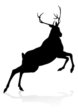 High quality animal silhouette of a deer Vettoriali