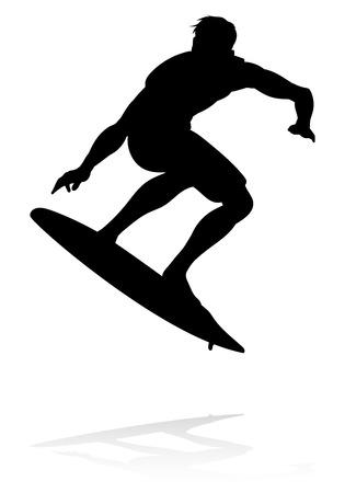 Eine hochwertige detaillierte Silhouette eines Surfers, der auf seinem Surfbrett auf den Wellen surft