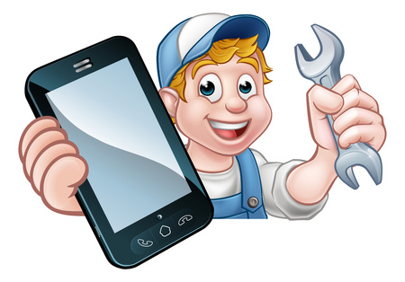 A plumber, mechanic or handyman holding a spanner and phone with copyspace